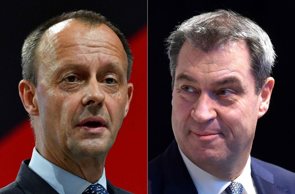 Wird CSU-Chef Markus Söder (rechts) Friedrich Merz als Kanzlerkandidaten verhindern ? Foto: AFP/John Macdougall