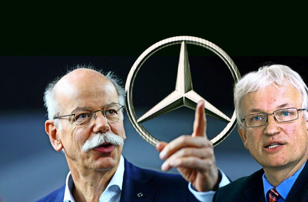 Die Gegenspieler: Daimler-Vorstandschef Dieter Zetsche (links), Geschäftsführer Jürgen Resch von der Umwelthilfe.Foto:StZ Foto: