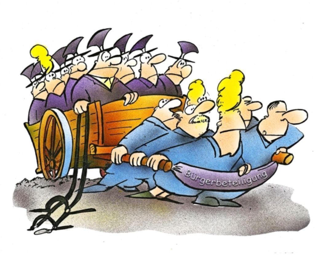 Bürgerbeteiligung ist eine Beschäftigungsform der aufgeklärten Zivilgesellschaft und bedeutet, dass   Bürger im herrschaftsfreien Diskurs  und unter bangen Blicken  der Räte  den Karren aus dem Dreck ziehen. Foto: HSB-Cartoon/tooonpool