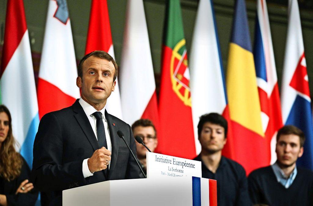 Leidenschaftliches Plädoyer für die EU:   Frankreichs Staatschef Emmanuel Macron bei seiner Rede vor Studenten   der Pariser Universität Sorbonne im September dieses Jahres. Er rief dazu auf, Europa mit vereinten Kräften zu einer Weltmacht zu machen – und die EU mit einem eigenen Haushalt und eigenem Finanzminister auszustatten. Foto: AFP