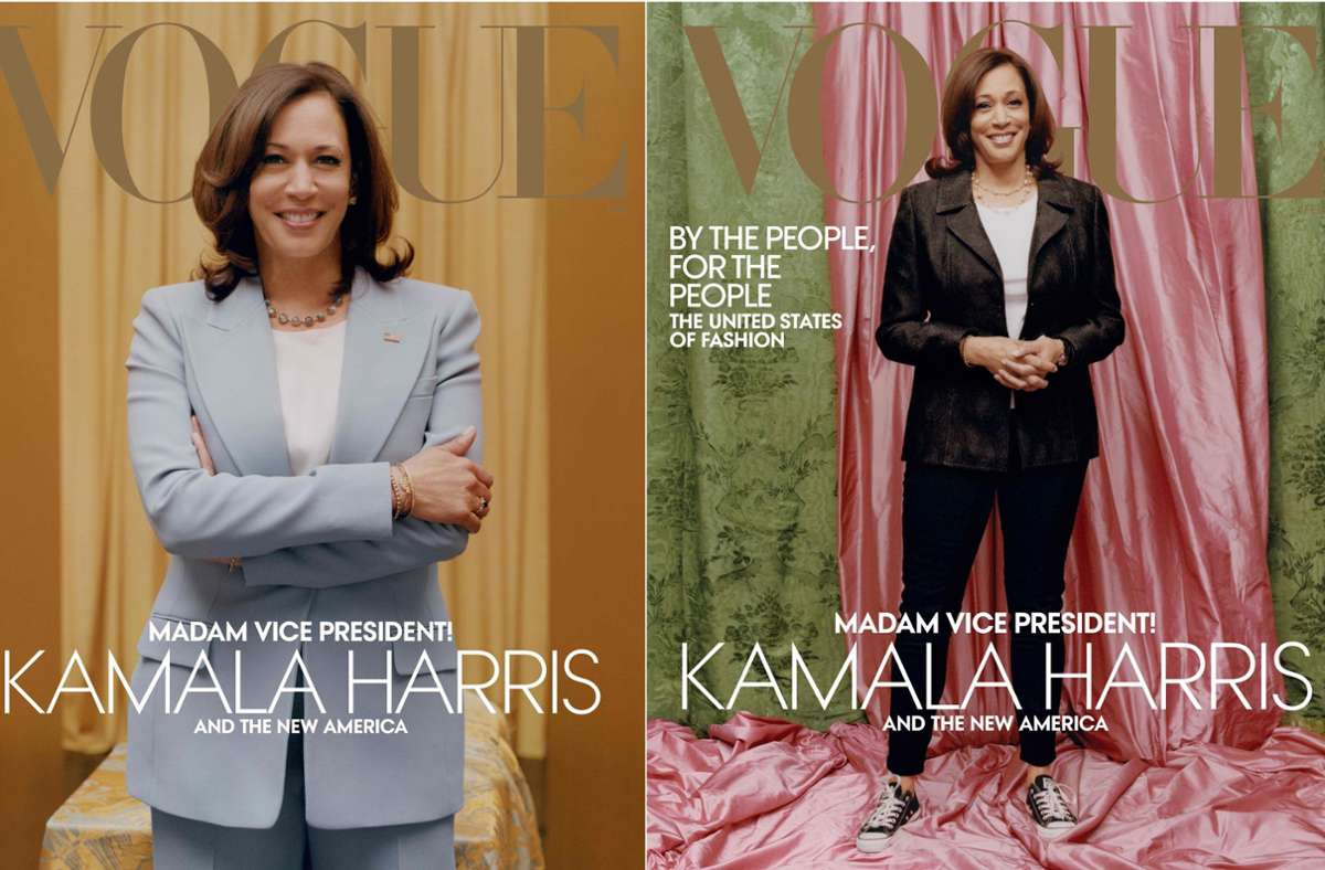 Warum wurde Kamala Harris so (rechts) auf dem Vogue-Titel abgebildet – und nicht seriöser im Hosenanzug (links)?Foto:AFP PHOTO /VOGUE/TYLER MITCHELL/VOGUE.COM/AMERICANVOGUE.COM/HANDOUT Foto: