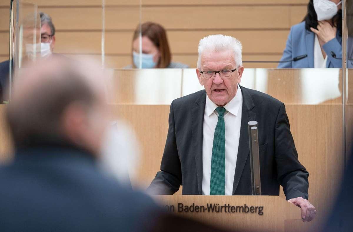 Ministerpräsident Winfried Kretschmann: Tempo bei den Sondierungsgesprächen. Foto: dpa/Marijan Murat
