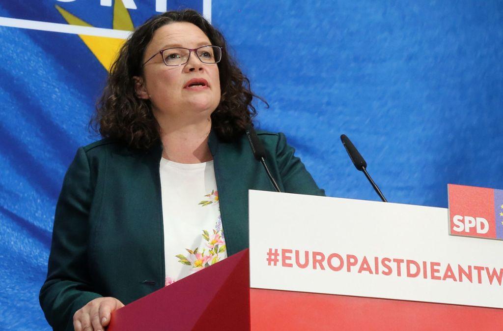 SPD-Chefin Nahles gerät zunehmend unter Druck Foto: dpa