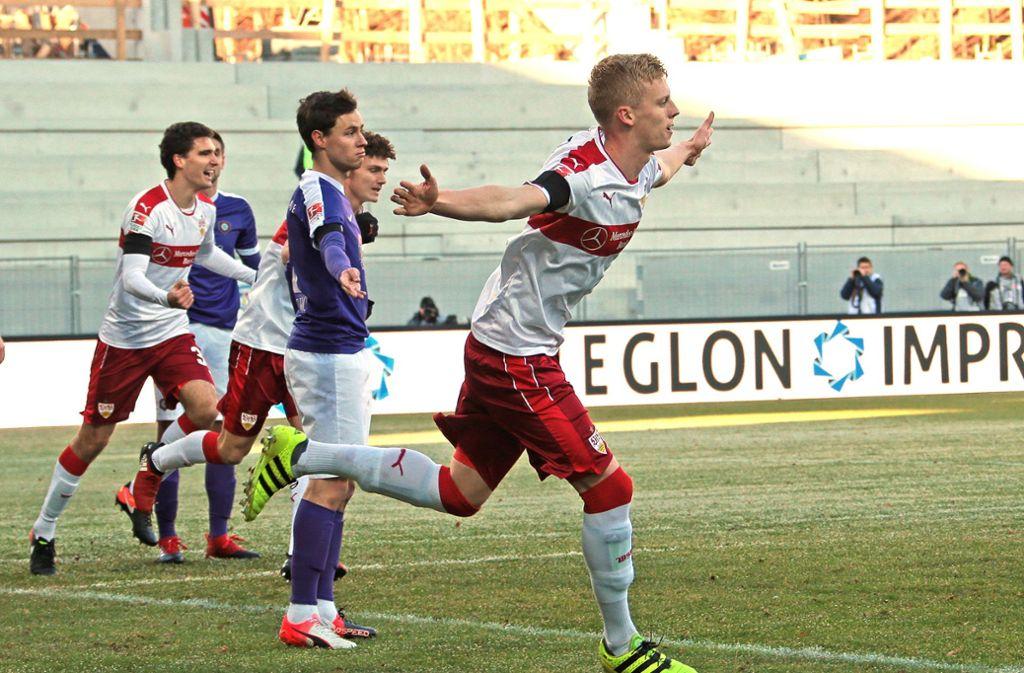 Beim letzten und bisher einzigen VfB-Spiel in Aue erzielte Timo Baumgartl einen Treffer. Foto: Pressefoto Baumann