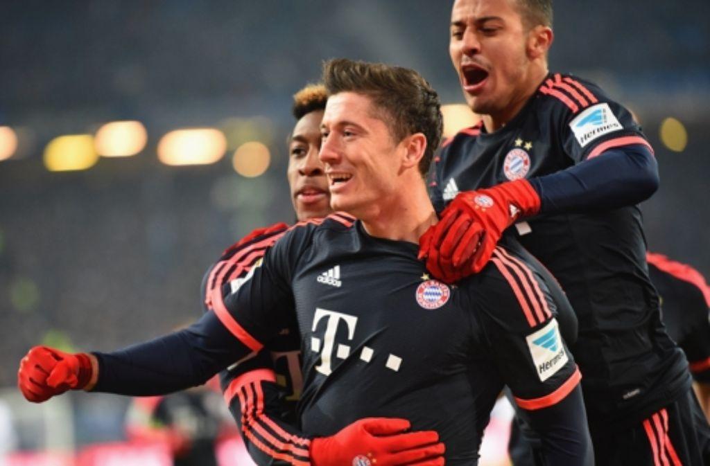 Robert Lewandowski hat das zweite Tor für Bayern München erzielt. Foto: Bongarts/Getty