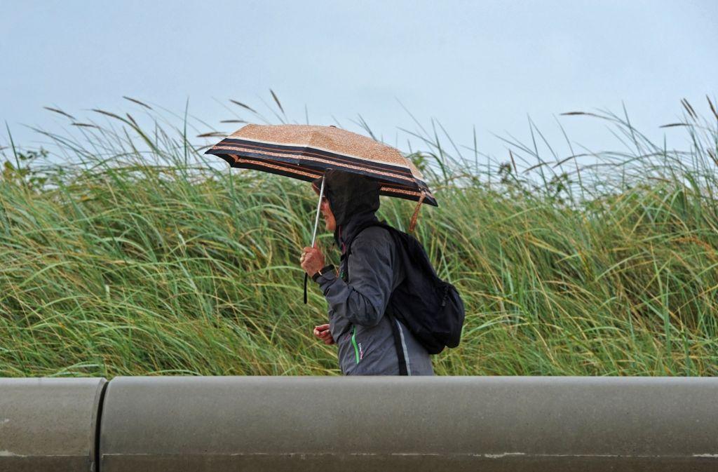 Mit Schirm und Regenjacke immer passend gekleidet für einen typisch deutschen Sommertag. Foto: dpa