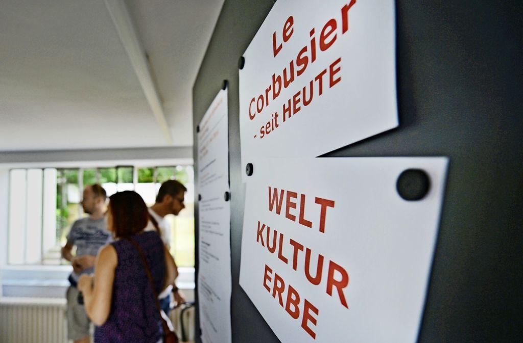 Dezenter Hinweis des Vereins am Sonntag: Wenn Sie dieses Haus besichtigen, befinden Sie sich in einem Weltkulturerbe.Schuf Vorbilder für Ästhetik: der Architekt Le Corbusier Foto: dpa