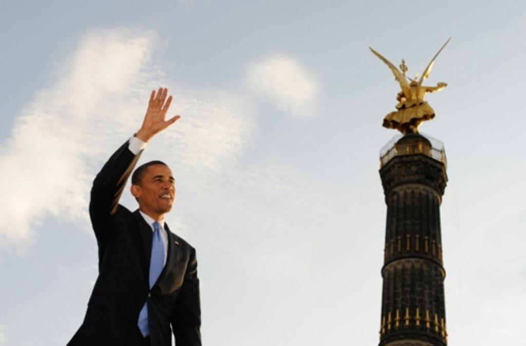 Beim Berlin-Besuch als Wahlkämpfer 2008 sprach Obama an der Siegessäule. Foto: dpa
