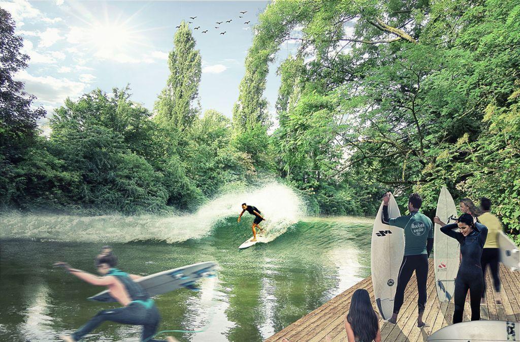 Die Neckarwelle könnte auch in idealer Treffpunkt am Wasser werden. Foto: Neckarwelle e.V.