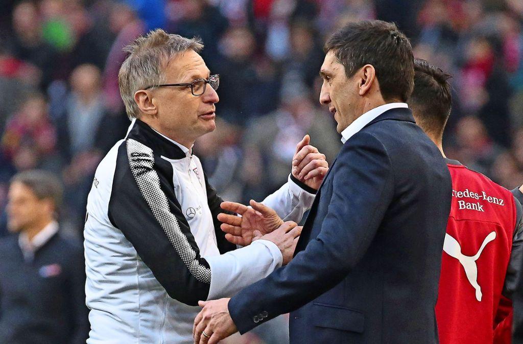 Arbeiten seit Januar zusammen: VfB-Sportchef Michael Reschke (li.) und Trainer Tayfun Korkut Foto: Baumann