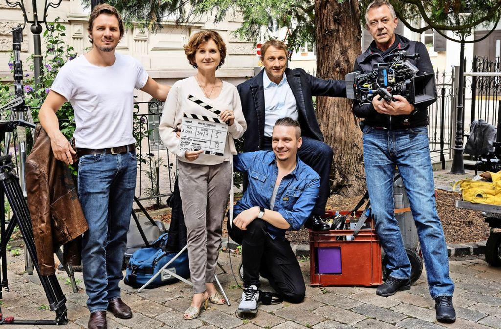 Felix Klare, Viktoria von Trauttmansdorff, Regisseur Piotr J. Lewandowski, Richy Müller und Kameramann Jürgen Carle (von links) Foto: SWR/Linder