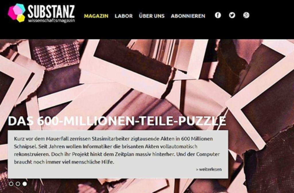 """Die Startseite des Magazins """"Substanz""""    Foto: StZ"""