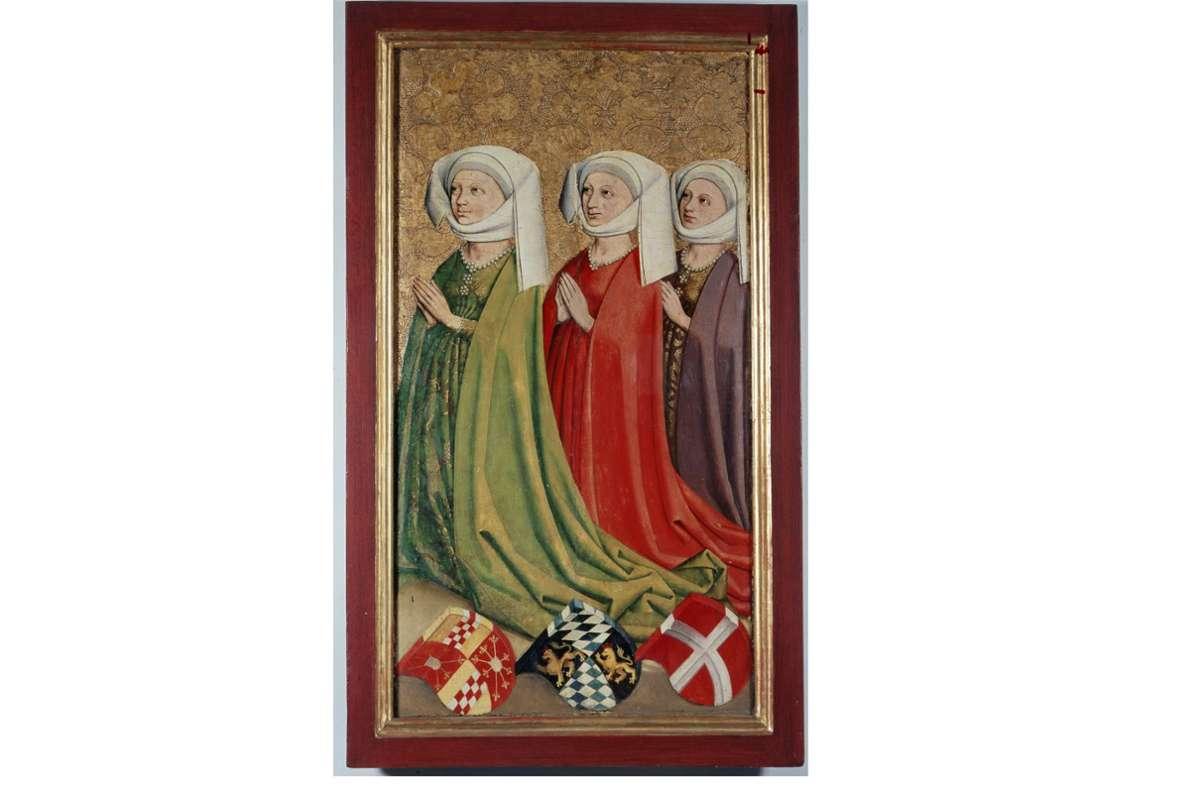 Ein Altar (Ausschnitt), der in den 1450-er Jahren entstanden sein muss, zeigt Margarethe (rechts), die dritte Frau von Graf Ulrich V. von Württemberg Foto: Landesmuseum Württemberg