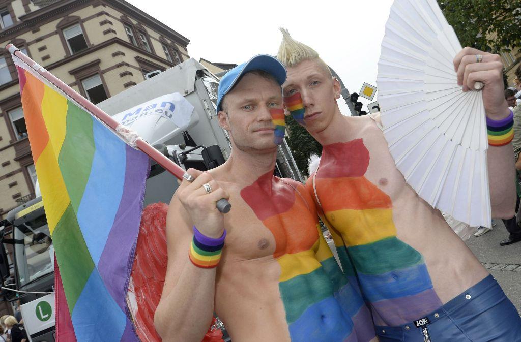 Teilnehmer bei der CSD-Parade in  Stuttgart. Foto: dpa