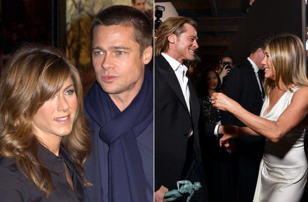 Zwischen diesen Bildern liegen über 15 Jahre: Jennifer Aniston und Brad Pitt im Jahr 2004 (links) und 2020. Foto: dpa/Vanstory/AFP/McIntyre