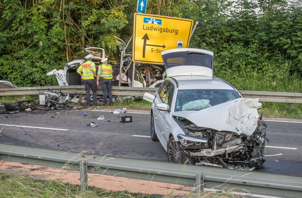 Bei Ludwigsburg ereignete sich am Donnerstagabend ein schwerer Unfall. Foto: 7aktuell.de//| Simon Adomat
