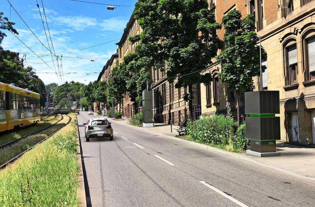 Die kubusförmigen Filteranlagen sollen an 21 Standorten entlang der Hohenheimer Straße aufgestellt werden. Foto: