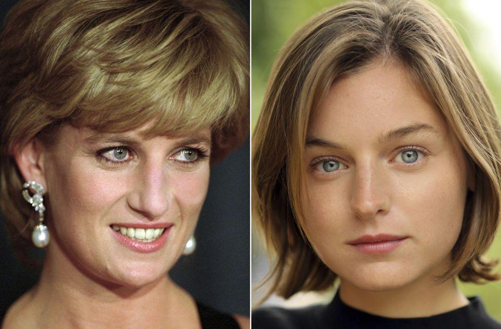 """Die Ähnlichkeit ist da: Emma Corrin (rechts) wird in der Serie """"The Crown"""" Prinzessin Diana spielen. Foto: Netflix/AP"""