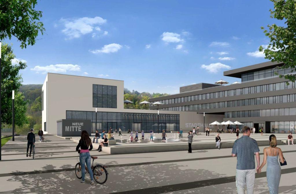Ein Entwurf für die Neue Mitte in Remseck mit Rathaus und Stadthalle Foto: privat