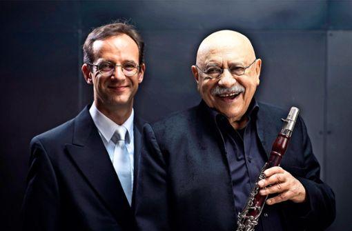 Klarinettist Giora Feidman und Orgelpartner Sergej Tcherepanov.