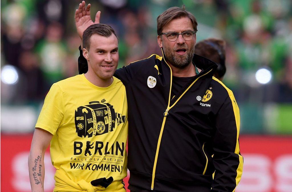 Kevin Großkreutz (links) und sein großer Förderer Jürgen Klopp. Foto: Getty