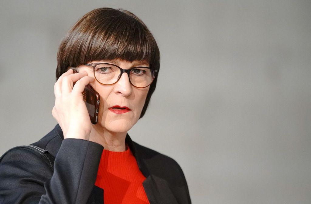 Saskia Esken, die neue SPD-Vorsitzende, ist mit Vorwürfen zu ihrer Zeit im Vorstand des baden-württembergischen Elternbeirats konfrontiert. Foto: dpa/Michael Kappeler