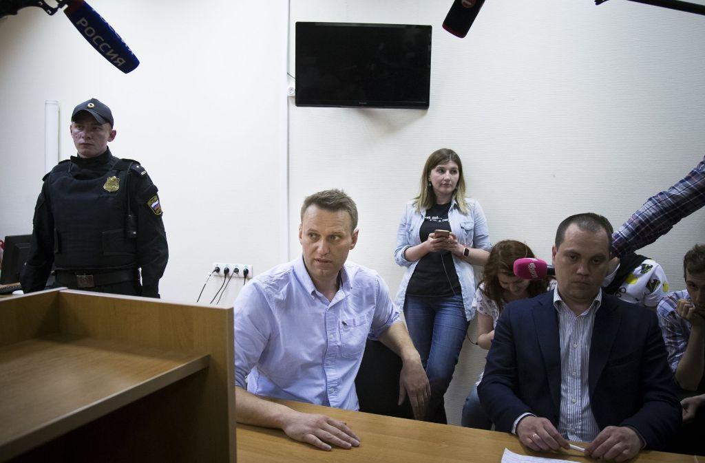 Der Regimekritiker Alexej Nawalny wird in Moskau zu 30 Tagen Arrest verurteilt. Foto: AP
