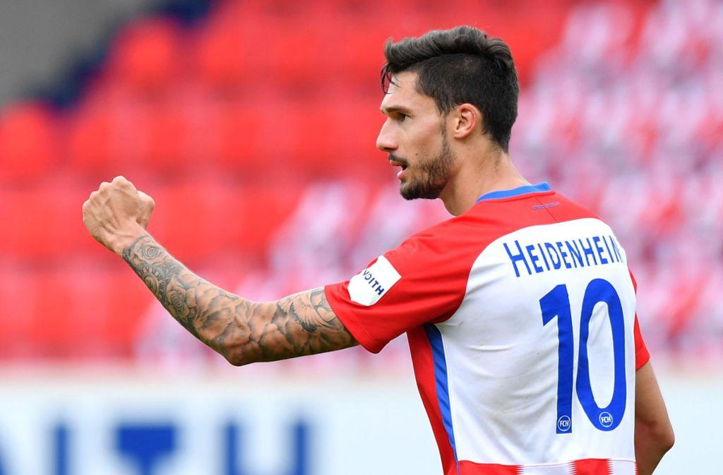 Tim Kleindienst markierte gegen Regensburg zwei Tore für Heidenheim. Foto: dpa/Sebastian Widmann