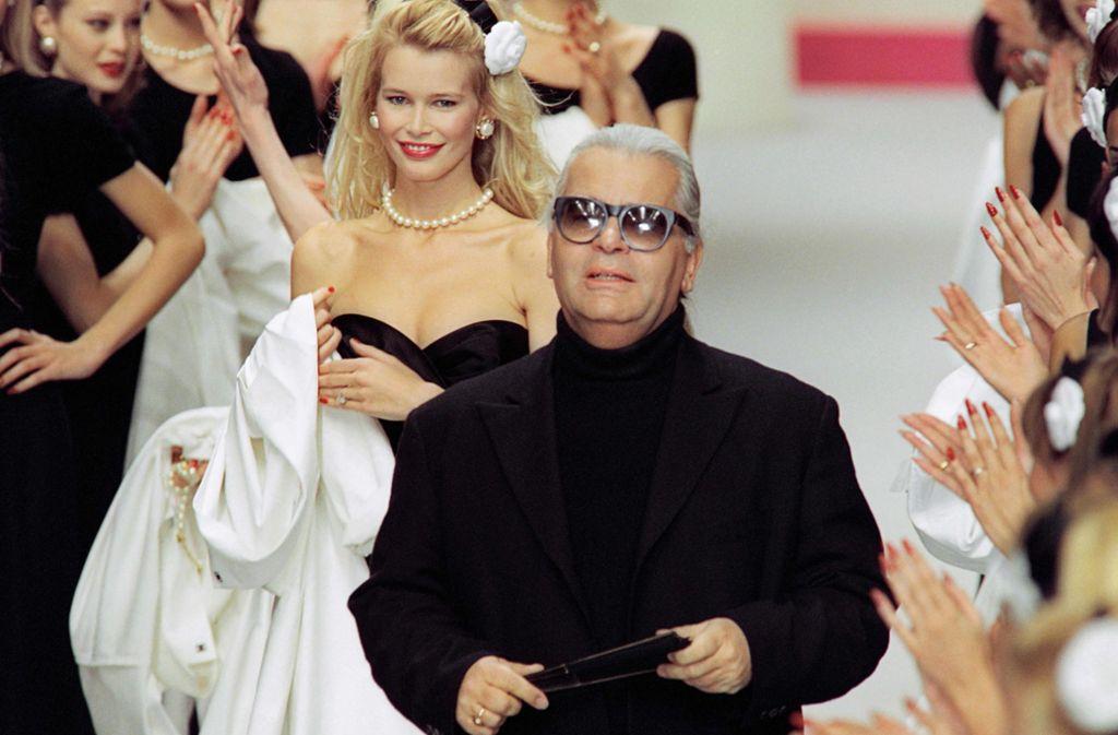 "Karl Lagerfeld nannte Claudia Schiffer gerne auch ""Cloodia"". Foto: AFP"