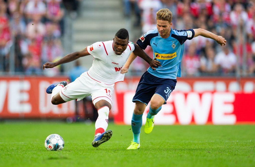 Beim Hinspiel in Köln gewann Gladbach knapp mit 1:0 Foto: dpa/Rolf Vennenbernd