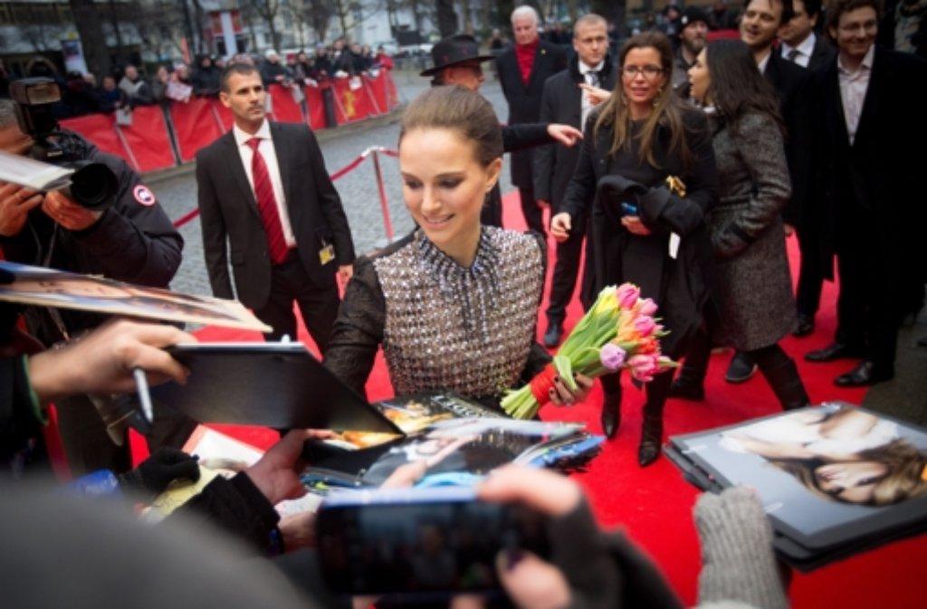 Natalie Portman nahm am Samstag an einer Diskussionsrunde zum Dokumentarfilm The Seventh Fire (Das siebte Feuer) im Rahmen der Berlinale teil. Portman gehört zu den ausführenden Produzenten des Films, der in der Sektion Berlinale Special gezeigt wird.  Foto: dpa
