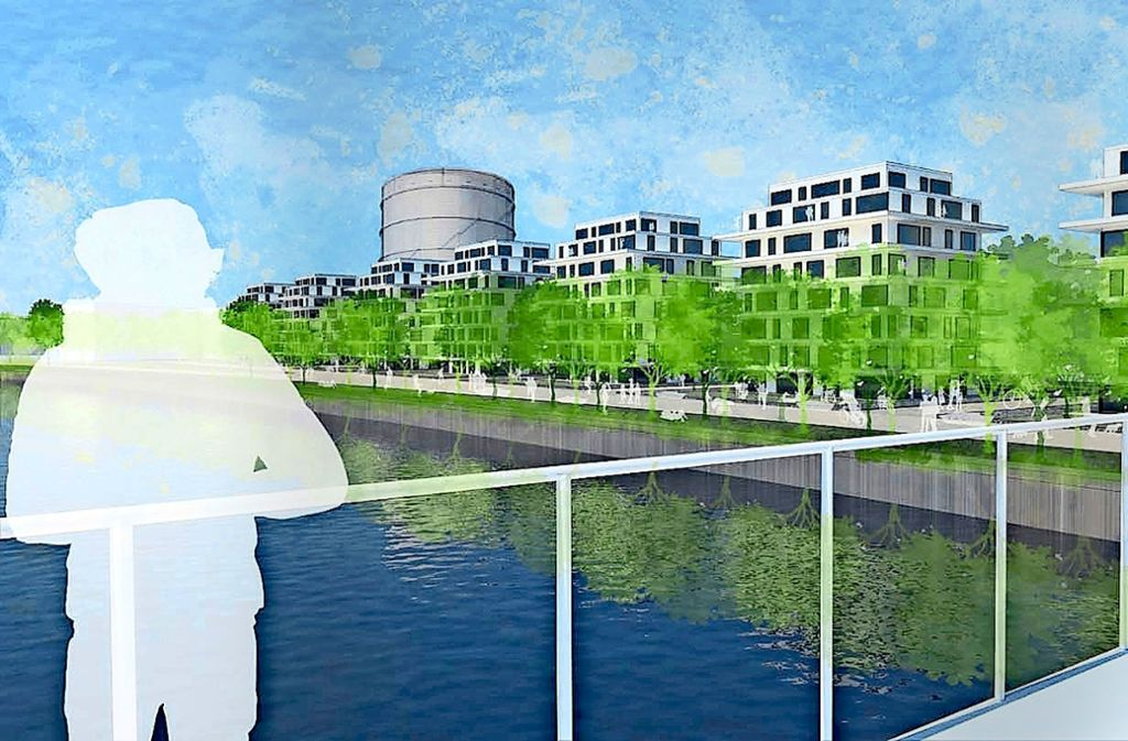 Grobe Skizze von Variante C: Wohngebäude  nah am Ufer Foto: Stadt