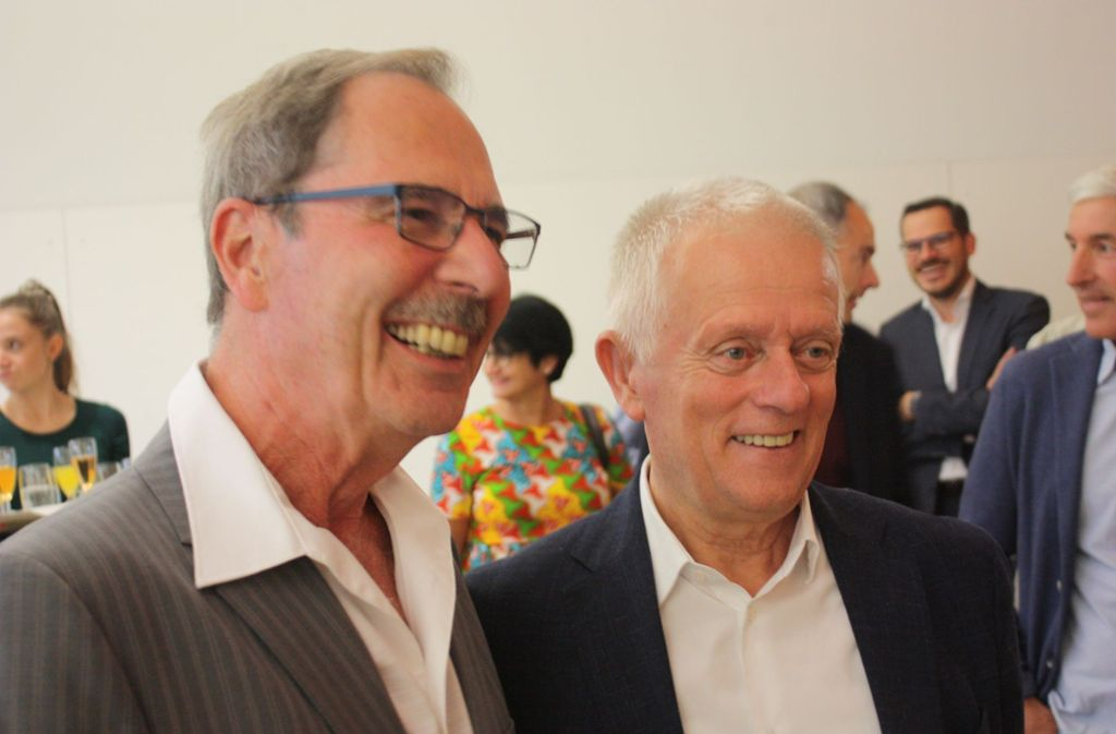 Fritz Kuhn lobte Reinhard Möhrle (links) für seine Geduld und seine Beharrlichkeit. Foto: /Christoph Kutzer