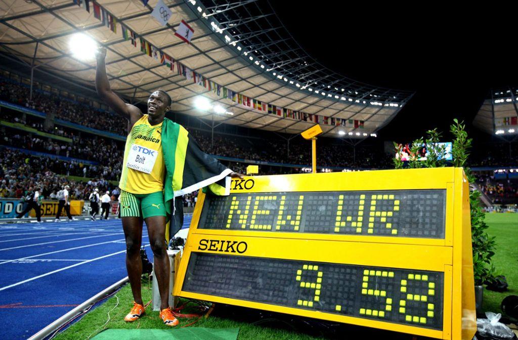 Der 100-Meter- Fabelweltrekord von Usain Bolt aus dem Jahr 2009 ist noch immer gültig. Foto: dpa/Nietfeld