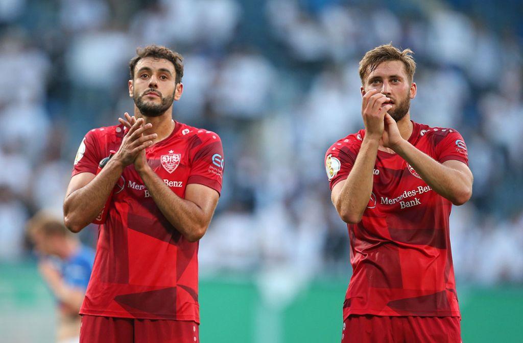 Hamadi Al Ghaddioui (links) und Nathaniel Philips überzeugten für den VfB in Rostock. Foto: Pressefoto Baumann