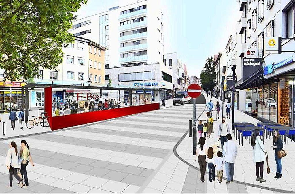 In der Konzeptstudie wird unter anderem vorgeschlagen, an der Ecke Stuttgarter /Grazer Straße einen Pavillon aufzustellen, der  verschiedene Nutzungsmöglichkeiten hätte. Foto: Ranger Design