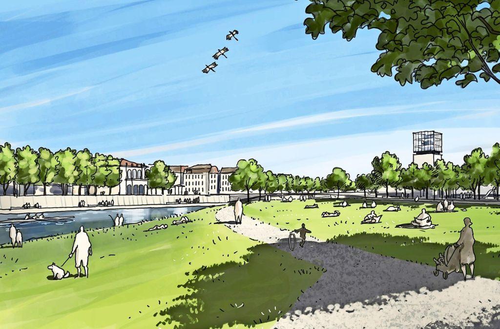 Wiesen und breite Wege – so stellt man sich den Uferbereich in Bad Cannstatt vor. Foto: Grünewelle / silands