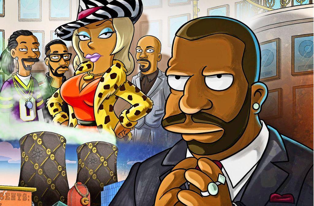 """Auch in """"Der große Phatsby"""" tragen die """"Simpsons""""-Figuren Züge ihrer Sprecher, v. li.: Snoop Dogg, RZA, Taraji P. Henson, Common und Kevin Michael Richardson. Foto: Fox"""