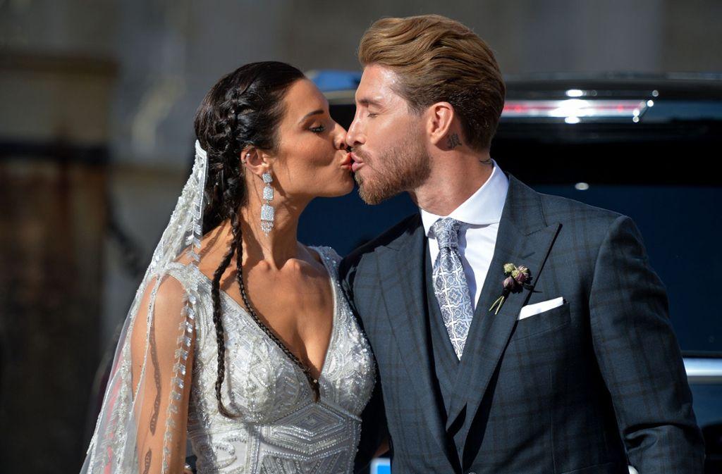 Fußball-Star Sergio Ramos von Real Madrid hat seine langjährige Lebenspartnerin Pilar Rubio geheiratet. Foto: Getty Images