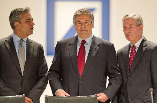 Die früheren Bank-Chefs Anshu Jain, Josef Ackermann und Jürgen Fitschen. Foto: dpa