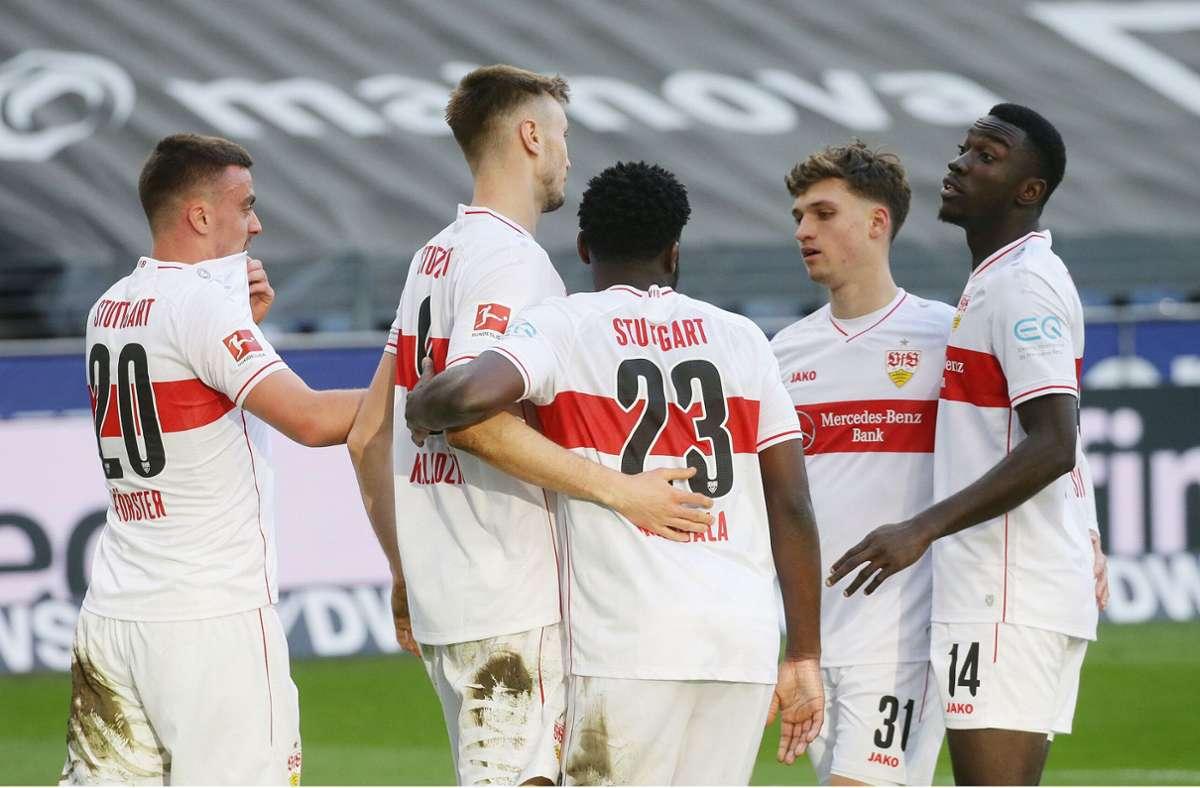 Sasa Kalajdzic traf zur 1:0-Führung des VfB Stuttgart bei Eintracht Frankfurt. Foto: Pressefoto Baumann