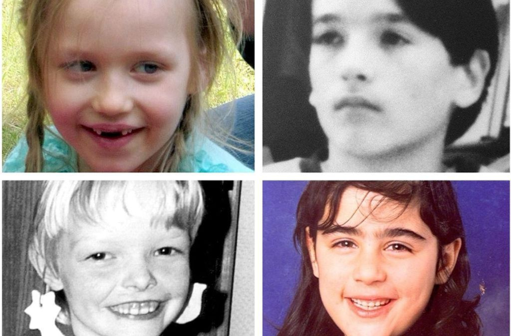 Vermisste Kinder: Inga aus Stendal (oben links) – vermisst seit 2. Mai 2015. Manuel aus Berlin (oben rechts) – vermisst seit 24. Juli 1993. Seike (unten links) aus Drelsdorf – vermisst seit 5. August 1993. Hilal aus Hamburg (unten rechts) – vermisst seit 27. Januar 1999. Foto: /dpa