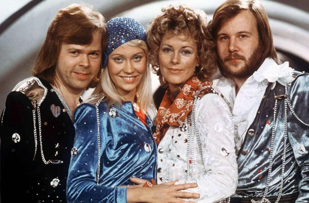 ABBA 1975: Björn Ulvaeus, Agnetha Fältskog, Anni-Frid Lyngstad, Benny Andersson (von links) Foto: imago images/Cinema Publishers Collection