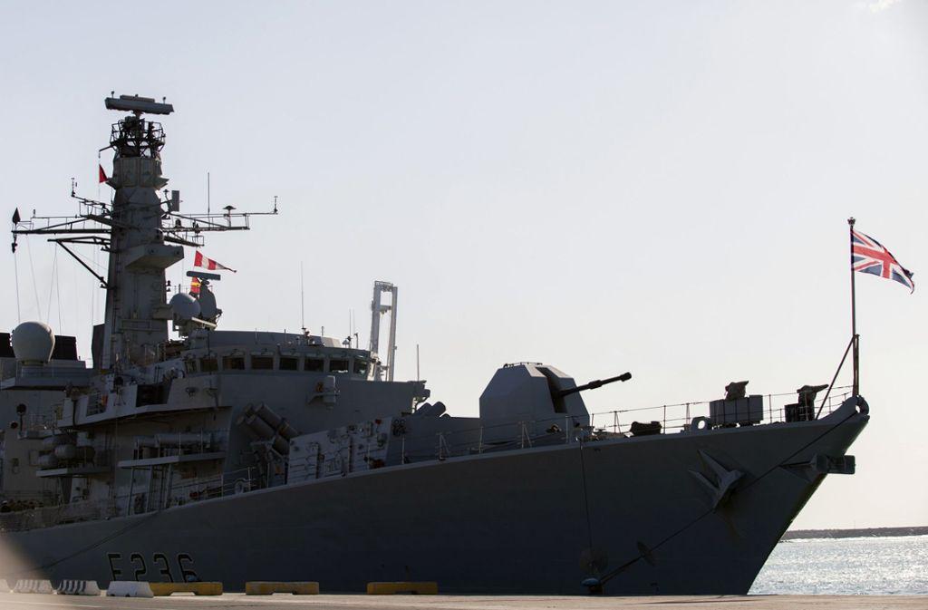 """Die britische Fregatte """"Montrose"""" bei einem Stopp im Hafen von Limassol auf Zypern Foto: AFP"""