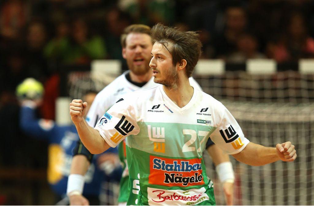Marco Rentschler will mit den Handballern von Frisch Auf Göppingen auch am Sonntag jubeln und den Titel im EHF-Pokal in der heimischen EWS-Arena verteidigen. Foto: Baumann