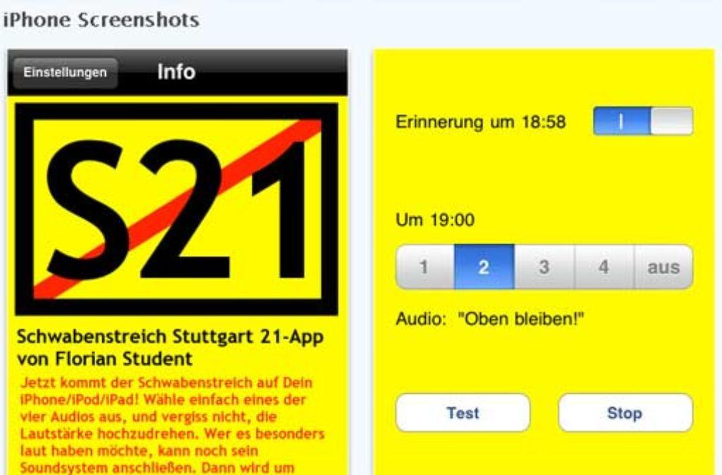 Viele Möglichkeiten bietet die Schwabenstreich-App » nicht. Screenshot: StZ