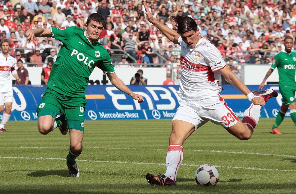 Mario Gomez steht beim 4:1-Sieg des VfB gegen Wolfsburg im Fokus. Foto: aumann