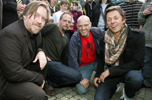 And.Ypsilon (links) war immer eher der Stille im Hintergrund. Am Sonntag wird er mit dem Publikum reden. Zur schwäbischen Hip Hop Band gehören auch: Smudo, Thomas D und Michi Beck (v.l). Foto: dpa