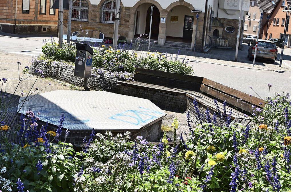 Trockenheit herrscht am Brunnen gegenüber des Rathauses ... Foto: