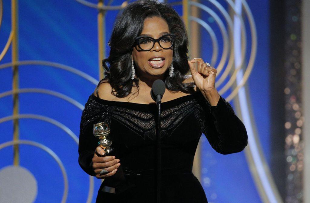 Oprah Winfrey bei ihrer kämpferischen Dankesrede für den Lebenswerk-Preis der Golden Globes Foto: NBC